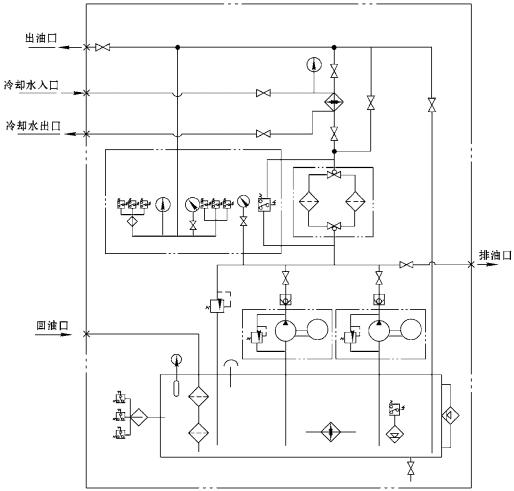 q≤800l/min用温度调节器的装置系统图